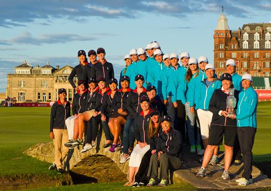 04/08/2013. American and European Solheim Cup Teams, Swilcan Bridge, St Andrews
